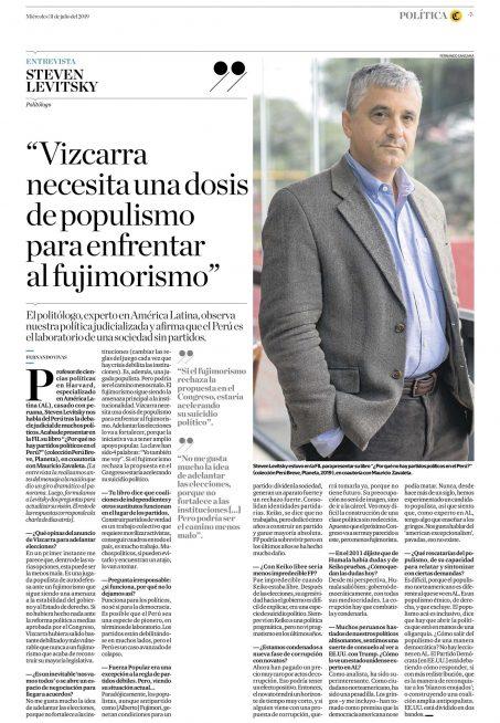 Steven Levitzky - El Comercio